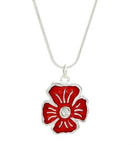 Red Enamel Crystal Pansy Flower Necklace